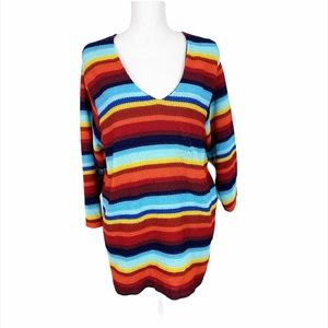 Rainbow V-Neck Knitted Pullover Sweater
